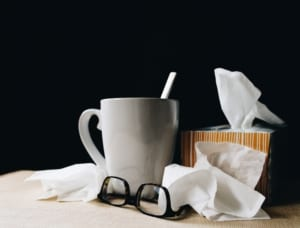 tissues and hot drink